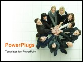 PowerPoint Template - business people in circle with hands in the middle