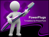 PowerPoint Template - 3d human with a big toothbrush in hands