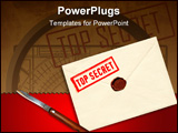 PowerPoint Template - military top secret envelope with stamp and knife for papers