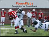 PowerPoint Template - The receiver breaks away from a diving tackle and runs for a touchdown.