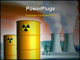 PowerPoint Template - Radioactive waste from a nuclear power plant. Mixed media illustration.