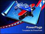 PowerPoint Template - d illustration of a red and blue plastic toy airplane showing a partial wireframe sitting on top of