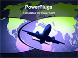 PowerPoint Template - picture of airplane and world