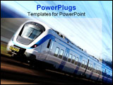 PowerPoint Template - Photo of a Fast train in motion and blue sky