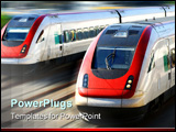 PowerPoint Template - train speeding along its tracks with motion blur.