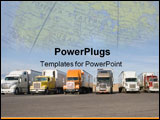 PowerPoint Template - a group of large trucks in a row ** Note: Slight blurriness,
