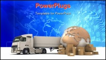PowerPoint Template - D rendering of a world map, packages a van, a truck and an airplane with the words 12 Hrs and a chr