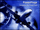 PowerPoint Template - transport concept. Jet aircraft, airport arrival times and a watch