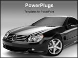 PowerPoint Template - Realistic render three-dimensional model of the black Mercedes SL 500