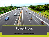 PowerPoint Template - a road with some cars who drive quickly