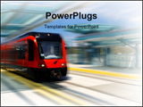 PowerPoint Template - light rail trolley at trolley station in san Diego