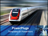 PowerPoint Template - fast train with motion blur along its tracks.
