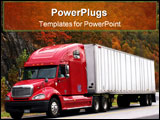 PowerPoint Template - red semi-truck and trailer on a north carolina highway