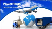 PowerPoint Template - Airliner with a globe and auto loader with boxes