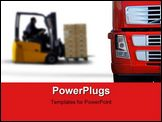 PowerPoint Template - A red semi trailer in a warehouse