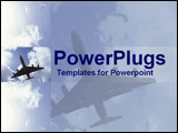 PowerPoint Template - Undercarriage of jet in sky with smaller side view