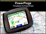 PowerPoint Template - Portable GPS for a car sitting on a map