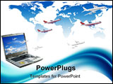 PowerPoint Template - Travel conceptual illustration: internet booking. Laptop planes world map