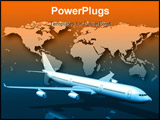 PowerPoint Template - Front 3/4 view of a large aircraft hovering over an orange and blue world map