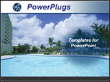 PowerPoint Template - Beach resort with pool and palm trees