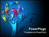 PowerPoint Template - People coming together to form a human tree. Vector Illustration.
