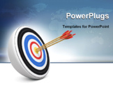 PowerPoint Template - Bull-Eye three archery arrows hit right on target center over white background 3d render