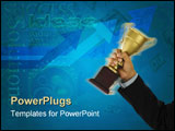 PowerPoint Template - a winner with suit holding a trophy