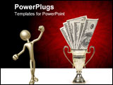 PowerPoint Template - Trophy or medal filled up with money on isolated white