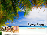 PowerPoint Template - Relaxing on tropical paradise with white sand at Maldives and green palms with blue sky
