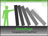 PowerPoint Template - Troubleshooter. Simple conceptual illustration with domino blocks.