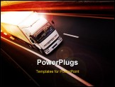 PowerPoint Template - A truck on highway - speed and delivery concept
