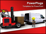 PowerPoint Template - 3d render of man in forklift truck loading a van