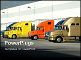 PowerPoint Template - diesel trucks at warehouse loading docks in california