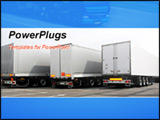 PowerPoint Template - Three lorries of semi truck at parking