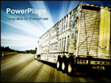 PowerPoint Template - A truck going down the highway loaded with goods for the market.