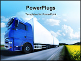 PowerPoint Template - Photo of blue truck driving on country-road/motion