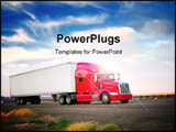 PowerPoint Template - Red truck moving on a vibrant highway