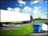 PowerPoint Template - Fast moving truck on highway, blurred because of motion