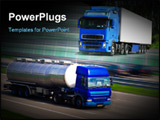 PowerPoint Template - The Tanker truck on motorway. Motion blur