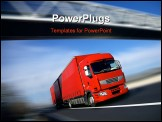 PowerPoint Template - speed red semi truck on road or highway