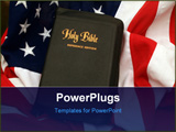 PowerPoint Template - silhouette of firefighters on a american flag