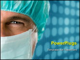 PowerPoint Template - Mature male surgeon gazing and looking at camera at hospital, close up shot