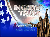 PowerPoint Template - ed White and Blue From American Flag Reflected in God We Trust Motto on Vintage Retro 1967 United S