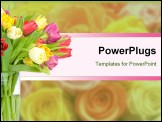 PowerPoint Template - Tulips in the vase isolated on white background