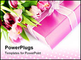 PowerPoint Template - Pink tulips and gift box on a white background. With easy removable sample text.