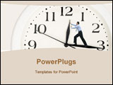 PowerPoint Template - clock hands being pushed back by a business man