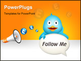 PowerPoint Template - Nice blue twitter bird with comment cloud
