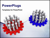 PowerPoint Template - Many 3d people as two teams on colored cogwheels