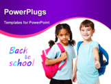 PowerPoint Template - Two school kids in blue t-shirts with backpacks