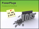 PowerPoint Template - image of people jumping from the word jobs a metaphor for mass unemployment